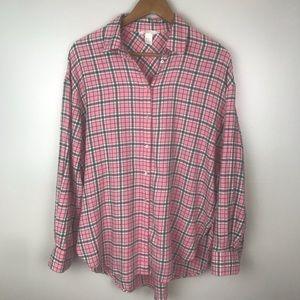 H&M Boyfriend Lightweight Flannel Shirt Pink Plaid